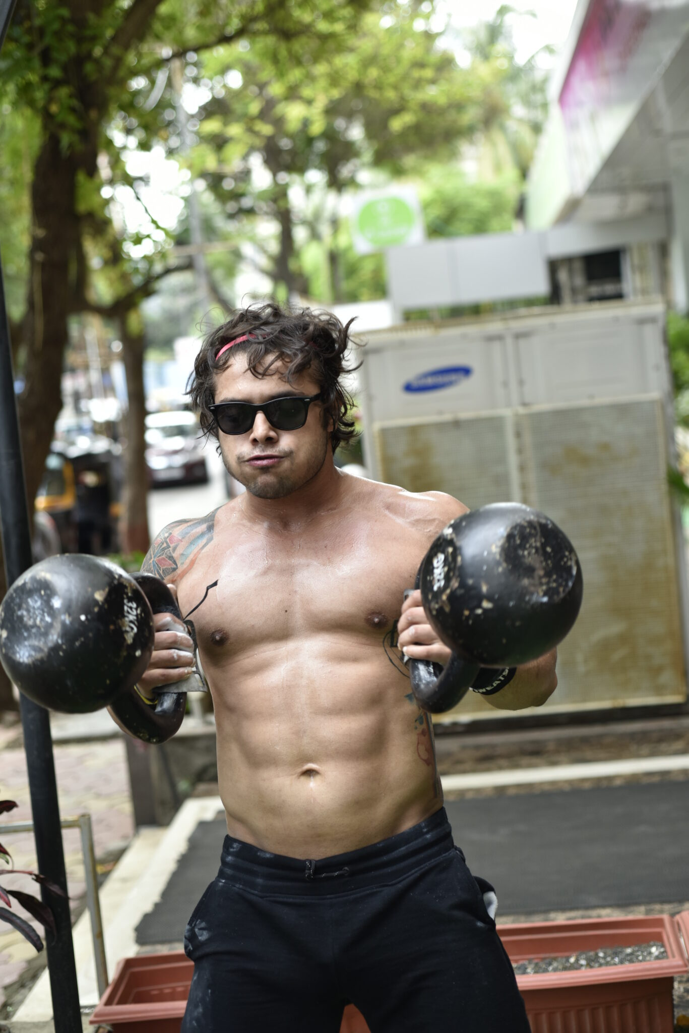 Vedharth Thappa at workout